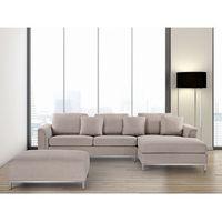 Nowoczesna sofa z pufą w kolorze beżowym L - kanapa tapicerowana - OSLO, kolor beżowy
