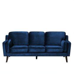 Beliani Sofa tapicerowana trzyosobowa ciemnoniebieska lokka (4260602373230)