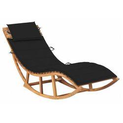 Czarny bujany leżak ogrodowy z litego drewna - Afis 3X, vidaxl_3063340
