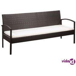Vidaxl 3-osobowa sofa ogrodowa z poduszkami, polirattan, brązowa (8718475612605)