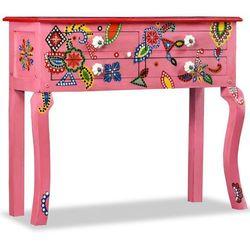 Stolik konsola, drewno mango, różowy, ręcznie malowany marki Vidaxl