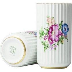 Lyngby Wazon biały w kwiaty 15 cm