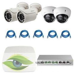 "Dahua Zestawy do monitoringu "" 1.3mp"". 2 x kamera ipc-hfw1120s-0360b, 2 x kamera ipc-hdbw2100r-z, rejestrator poe dahua dhi-nvr1104-p, skrętka, switch tp-link tl-sg108e"