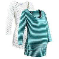 Shirt ciążowy biznesowy (2 szt.), bawełna organiczna  niebieskozielony w paski + w groszki, Bonprix, 32-54