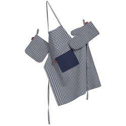 komplet kuchenny fartuch,rękawica i łapacz, granatowo biała krateczka (0,5x0,5cm), kpl, quadro, marki Dekoria
