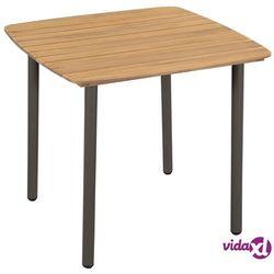 Vidaxl stół ogrodowy, lite drewno akacjowe i stal, 80 x 80 x 72 cm