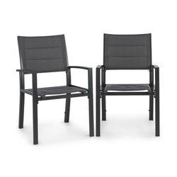 Blumfeldt torremolinos fotele ogrodowe 2 sztuki aluminium siateczka comfortmesh ciemnoszary (4060656152191)