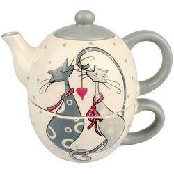 4-home Czajnik ceramiczny z filiżanką do herbaty cats (8595183316748)