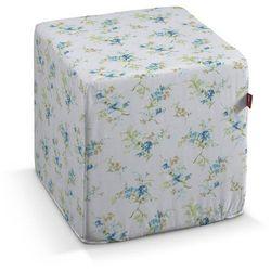 Dekoria Pufa kostka twarda, niebieskie kwiaty na białym tle, 40x40x40 cm, Mirella, kolor niebieski