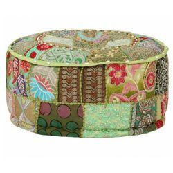 Elior Okrągła zielona pufa patchwork - tela 3x