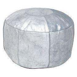 :: rustykalna pufa skórzana srebrna marki Hk living