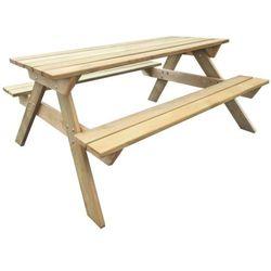 vidaXL Drewniany stół piknikowy z ławkami 150 x 135 71,5 cm