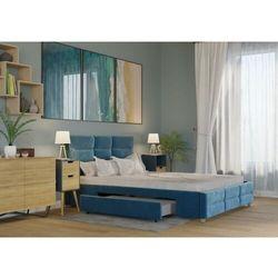 ŁÓŻKO 180X200 TAPICEROWANE BERGAMO + 2 SZUFLADY WELUR LAZUROWE, kolor niebieski