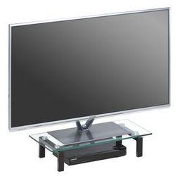 Stolik pod telewizor, 60 cm, czarny, szkło, metal, 16029599