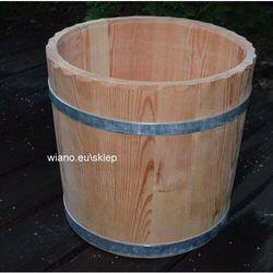 Twórca ludowy Naczynie klepkowe drewniane ręcznie wykonane - donica.