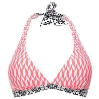 Biustonosz bikini z ramiączkami wiązanymi na szyi bonprix koralowo-biały wzorzysty