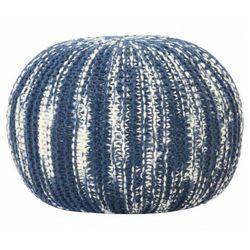 Niebiesko-biała pufa wełniana - hatino 2x marki Elior