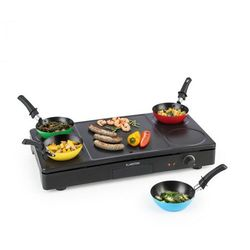 Klarstein Partylette, grill stołowy 3 w 1, wok, smażenie naleśników, dla 4 osób, powłoka zapobiegająca przywieraniu, 1000 W