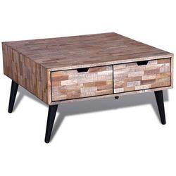 vidaXL Stolik do kawy z odzyskiwanego drewna tekowego 4 szufladami