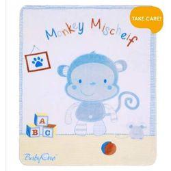 Babyono - Kocyk satynowy plusz 80 x 100 cm - Małpka niebieska - Małpka niebieska