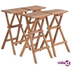 składane stołki barowe, 4 szt., lite drewno tekowe marki Vidaxl