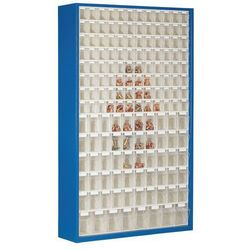 Szafa magazynowa z blachy stalowej,z 154 przezroczystymi składanymi skrzynkami marki Lockweiler plastic werke