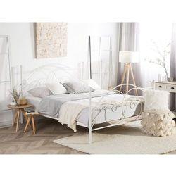 Łóżko białe 180 x 200 cm metalowe ze stelażem DINARD (4251682216463)