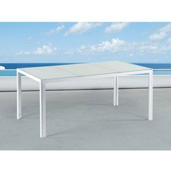 Beliani Stół ogrodowy biały - 160 cm - meble ogrodowe - aluminium - catania