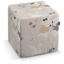 Dekoria Pufa kostka twarda, króliczki na kremowym tle, 40 × 40 × 40 cm, Adventure