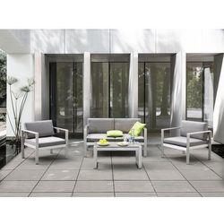 Beliani Sofa ogrodowa aluminium 2-osobowa jasnoszare poduchy salerno