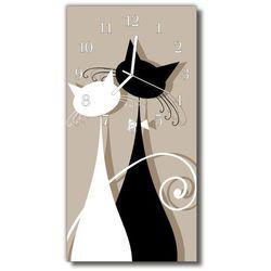 Zegar Szklany Pionowy Zwierzęta Koty beżowy