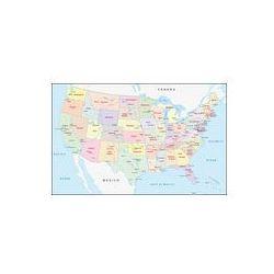 Foto naklejka samoprzylepna 100 x 100 cm - Mapa polityczna Stanów Zjednoczonych, marki fotako do zakupu w FOTAKO