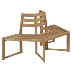 Drewniana ławka pod pień drzewa lumac - brązowa marki Elior