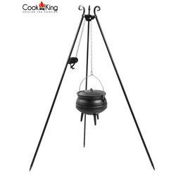 Kociołek afrykański żeliwny 6l na trójnogu z kołowrotkiem (+ pokrywka) marki Cook&king