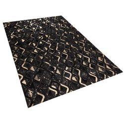 Beliani Dywan czarno-złoty 160 x 230 cm skórzany develi (4260586354959)
