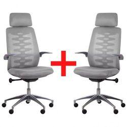 Krzesło biurowe z siatkowym oparciem SITTA GREY, 1+1 GRATIS, szare