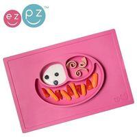 silikonowy talerzyk z podkładką 2w1 happy mat - różowy marki Ezpz