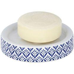 Dekoracyjna mydelniczka lorca, biało-niebieska, śródziemnomorska grafika, wykonana z ceramiki, wymiary 11x2.5 cm, marka marki Wenko