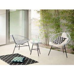 Meble rattanowe stół z 2 krzesłami białe ACAPULCO