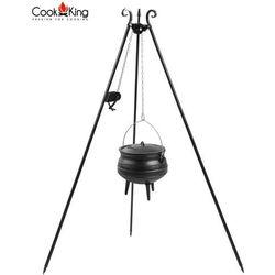 Kociołek afrykański żeliwny 9l na trójnogu z kołowrotkiem (+ pokrywka) marki Cook&king