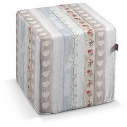 Dekoria Pufa kostka, róże i serca na pastelowych deskach, 40 × 40 × 40 cm, Ashley, kolor różowy