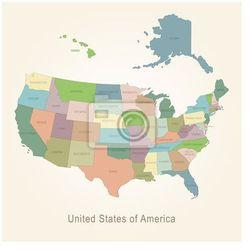 Obraz Mapa administracyjna USA (mapa szkolna)