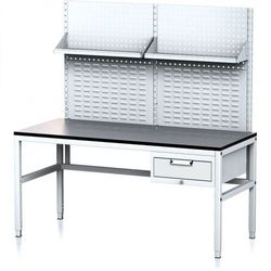 Stół warsztatowy mechanic ii z panelem perforowanym i półkami, 1600 x 700 x 745-985 mm, 1 kontener szufladowy, szary/szary marki B2b partner