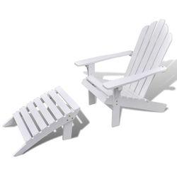 drewniany fotel z podnóżkiem, biały marki Vidaxl