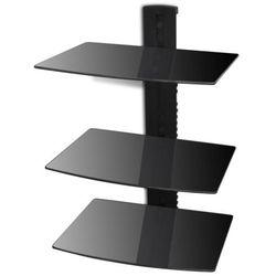 vidaXL Ścienna, szklana półka na płyty DVD, 3 poziomy, czarna (półka RTV)