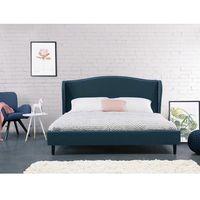 Łóżko granatowe - 140x200 cm - łóżko tapicerowane - stelaż - COLMAR, kolor niebieski