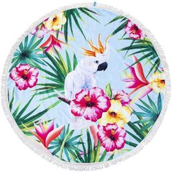 Ręcznik plażowy okrągły z papugą, kolor miętowy Ø 150 cm