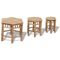 zestaw trzech sześciokątnych krzeseł bambusowych marki Vidaxl