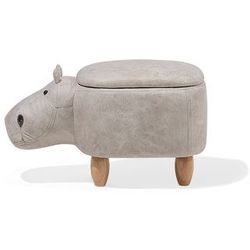Pufa imitacja skóry jasnoszara hippo marki Beliani