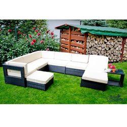 Bello giardino Zestaw mebli ogrodowych z leżanką risotto z technorattanu czarny